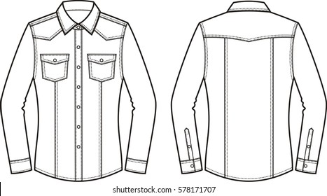 Vector illustration of women's jean shirt. Front and back. Clothes in denim style