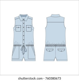 Vector illustration of women's jeans jumpsuit. Front and back