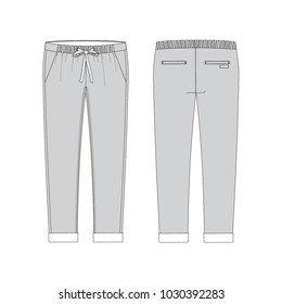 Vector illustration of women's joggers pants. Front and back