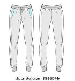 Vector illustration of women's joggers pants. Front and back, for sports wear.