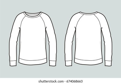 Vector illustration of women's jumper. Front and back