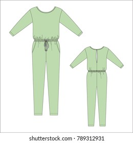 Vector illustration of women's jumpsuit. Front and back