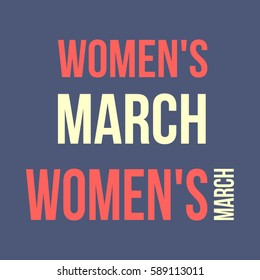 "Vector illustration of the ""Women's March"" lettering on dark blue background. Women's March is a worldwide movement for rights and equality."