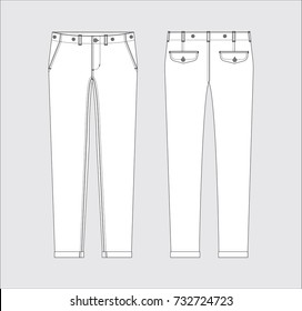 Vector illustration of women's pants. Front and back