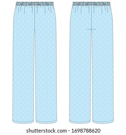 Vector illustration of women's pants pajamas. Front and back.