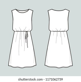 Vector illustration of women's sleeveless dress with belt. Front and back