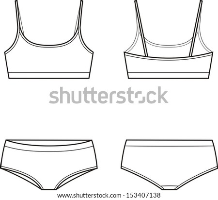 9e30257e9177c Vector illustration of women s sport underwear. Bra and panties. Front and  back views