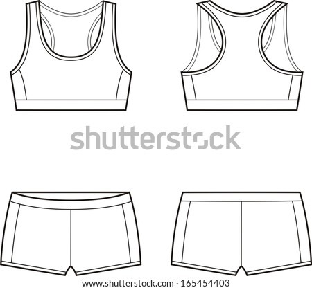 bc2ad8a9cae9f Vector illustration of women s sport underwear. Bra and shorts. Front and  back views