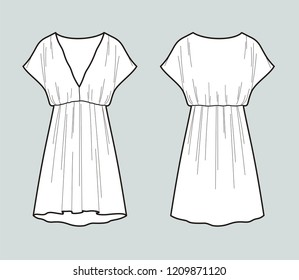 Vector illustration of women's summer tunic dress. Front and back