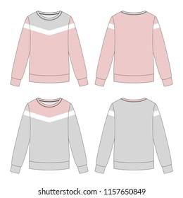 Vector illustration of women's sweatshirt. Colored set
