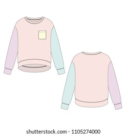 Vector illustration of women's sweatshirt. Front and back