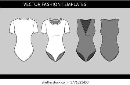 Vector illustration of women's swimsuit Front and back views, fashion flat sketch template