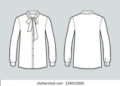 Vector illustration of women's tie neck blouse. Front and back