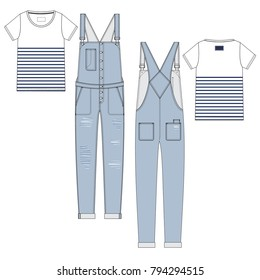 Vector illustration of women's t-shirt and jeans jumpsuit. Colored set.