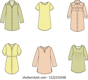Vector illustration of women's tunic, blouse, shirt