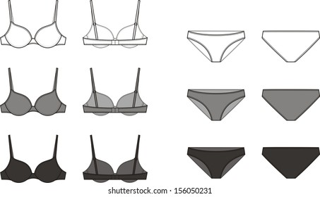 Vector illustration of women's underwear. Bra and panties. Front and back views. Different colors: white, grey, black