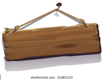 Vector illustration of wood board on the rope