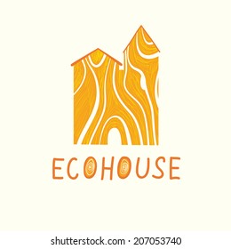 Vector illustration of wood ecohouse. Ecological and biosecurity theme