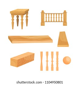 Vector illustration of wood and wood products - stool, railing.