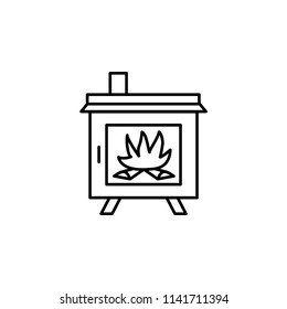 Vector illustration of wood stove. Line icon of modern furnace. Heating appliance for home. Front view.