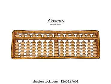 Vector illustration wooden abacus with beads. Traditional counting frame, Japanese style. Hand draw sketch vector.