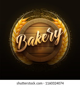 Vector illustration of Wooden Bakery Signboard. Elements are layered separately in vector file.