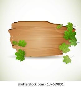 Vector Illustration of a Wooden Board with Leaves