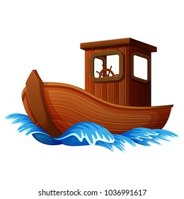 vector illustration of wooden boat sailing in the ocean