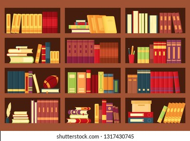 Vector illustration of wooden bookshelves with books, pencils, pile textbooks, magazines in flat style. Bookcase for bookstore background,  wallpaper, library, school education, infographic template.
