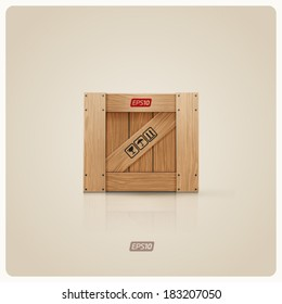 Vector illustration of wooden box icon