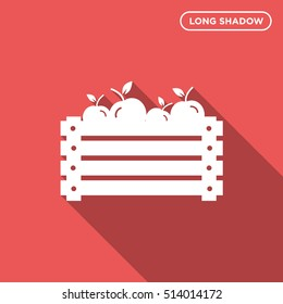 Vector illustration of a wooden box with isolated apple icon on red background with long shadow