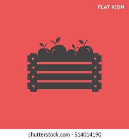 Vector illustration of a wooden box with isolated apple icon on red background