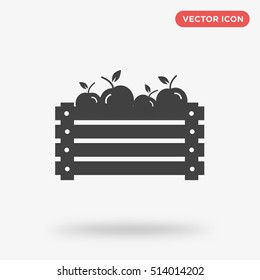 Vector illustration of a wooden box with isolated apple icon on gray background