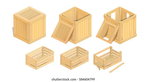 Vector illustration of a wooden box isometric, broken box set. infographics, low poly.
