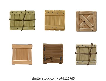 Vector illustration of wooden boxes. Cargo Boxes front view isolated on white background. Cartoon style. Icons for storage and transportation design.