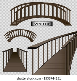Vector illustration of a wooden bridge set round bridge, the arch goes in the side and right into the Dale the prospect is isolated on a transparent background