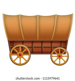vector illustration of a wooden carriage on a white background