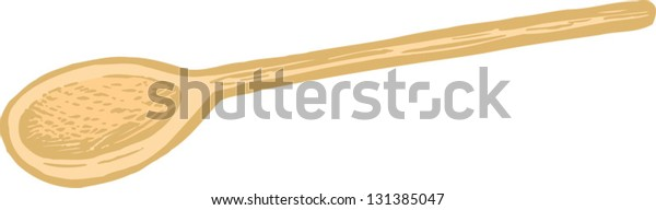 Vector illustration of wooden cooking spoon