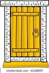 Vector illustration - Wooden door isolated  - cartoon style clip-art