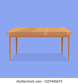 Vector illustration of wooden rectangular shaped table on violet background with grey shadow. Isolated object for creation of interior scenes. Cartoon, flat style