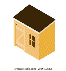 A vector illustration of a wooden shed Isometric tool shed. Isometric tool or work shed.
