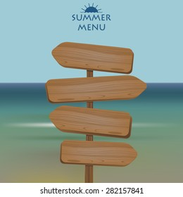 Vector illustration of wooden sign arrow showing left and right on the blur seashore. Website template.