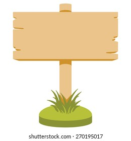 Vector illustration of wooden signboard. Cartoon style. Isolated on white.