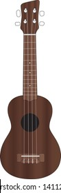 Vector illustration of a wooden soprano ukulele, a small four string acoustic instrument