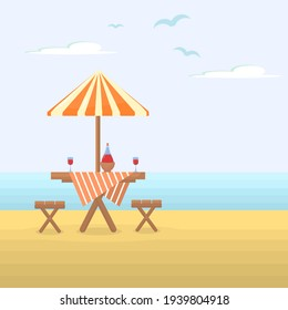 vector illustration of a wooden table with chairs on the beach