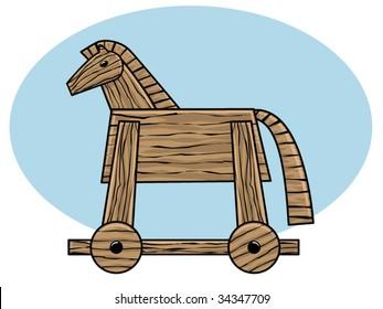 vector illustration of a wooden Trojan horse