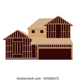 Vector illustration wooden unfinished house construction. House icon