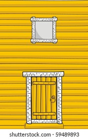 Vector illustration - Wooden wall of the timber, door and window - cartoon style