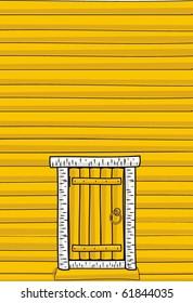 Vector illustration - Wooden wall of the timber, door - cartoon style