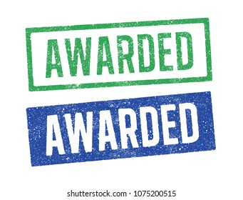 Vector illustration of the word Awarded in green and blue ink stamps